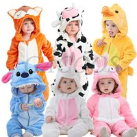 Wholesale baby clothes panda for sale - Group buy Baby Cartoon Romper Newborn Hooded Infant Clothing Boys Girls Pajamas Animal Onesie Jumpsuit Panda Costumes Flannel Baby Rompers C1018