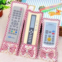 Wholesale controller s resale online - Bowknot Lace Dust proof Cover for Remote Control TV Air Condition Controller case Decoration bag lace Remote Control Protective GWD2556