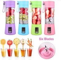 6 Blades Personal Blender Colorful Portable Mini Blender USB Juicer Cup Electric Juicer Bottle Fruit Vegetable Tools Squeezers Reamers