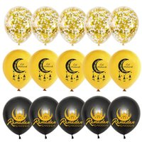 decoración estrella de oro al por mayor-15pcs 12inch Mixed Gold EID MUBARAK latex balloons Gold Star confetti balloons set helium globos for Muslim Islamic Party Decor