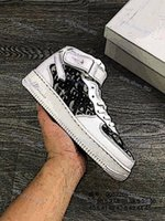 Wholesale white air forces high top resale online - New Design Forces Men Low Skateboard Shoes Cheap One Unisex Knit Air High Top Women All White Black Walking Shoes