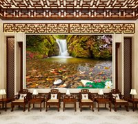 Wholesale music fishing resale online - Customized Retail Water Wealth Mountain Spring Fish Music Background Wall Fish Mural Painting In The Stream