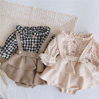 Wholesale cute vintage baby clothes resale online - INS Vintage Baby Girl Overall Shirt Set Clothes Autumn Linen Girls Floral Blouses Romper Dress Newborn Baby Girls Strap Outfits