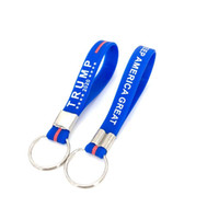 Wholesale blue keychains resale online - Blue Letter Car Keychains Accessories Trump Key buckle New Keyring Keep America Great For President Stars Portable Silicone KKF2145