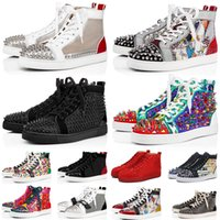 продажа лодок оптовых-Sale Red Bottom Casual Shoes Mens Womens Low High Designer Full Spikes Roller Boat Flats Skateboard Loafers Sneakers Luxury Men Women Shoe