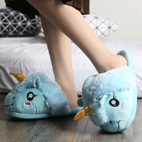 Wholesale leather bedroom slippers for sale - Group buy Fur slippers Women Home Shoes cheap Hot Unicorn slippers flats Winter Plush Indoor shoes Bedroom Slides X1020