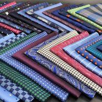 Blue Paisley Striped Mens Pocket Square Multicolor Silk Fashion Handkerchief Wedding Hanky Gift Accessories