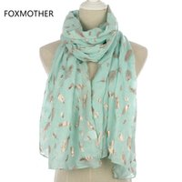 Wholesale pink feather scarves resale online - FOXMOTHER New Fashion Mint Green Pink Foil Gold Feather Scarf Hijab Shawl For Womens Y201007