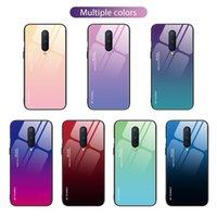 Wholesale phone oneplus 6t online – custom Gradient Tempered Glass Soft TPU Phone Protective Hybrid Case for Oneplus Pro T T T Anti Scratch Cover