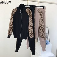 Discount fashionable skirt suits Fashionable Leopard Print Zip-up Jacket Knitting Suit Female Spring Fall New Fashion Women Sweatsuits 2piece Set Women 201120