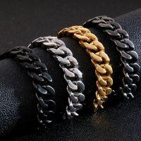 Wholesale mens golden bracelets for sale - Group buy 13MM Golden Stainless Steel Bracelet Men Curb Chain Link Mens Bracelets Heavy Massive Wrist Hand Jewellery Gifts For Man