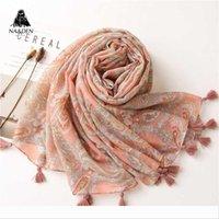 Wholesale flower print scarf viscose resale online - Designer new flowers printing viscose summer scarf with tassel Fashion beach Wraps Spring Shawls Hijab gift w