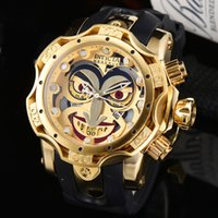 relógios invicta mens  venda por atacado-New INVICTA Luxo série Mens Sports Watch Clown Golden Quartz Men Relógios calendário de silicone alça de pulso