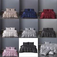 Wholesale chinese bedding comforter sets resale online - Three Piece Set Bedding Sets Duvet Cover Queen Size Bedclothes Comforter Sets Imitation Silk Bedding Article xn3 K2