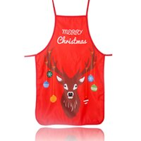 Wholesale apron cute resale online - Adult Christmas Apron Santa Lady Printed Cartoon Cute Cooking Apron Christmas Decoration Props For Kitchen Tools Xmas Gift CCB1911