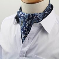 Wholesale men's ascot cravat resale online - Men s Vintage Necktie Formal Cravat Ascot Scrunch Self British Polka Dot Gentleman Polyester Silk Neck Tie Luxury