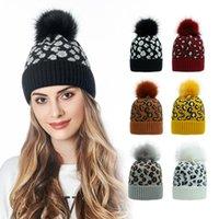 Wholesale blue bonnets for sale - Group buy Leopard Pom Pom Beanies Women Winter Warm Knitted Hat Bonnet Pom Beanie Fashion Knit Caps Wool Hats Colors DWD2909