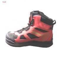 Wholesale wading boots resale online - rock fishing shoes Outdoor sport wading fast spin auto lace detachable felt out sole steel spike ankle boots dropshipping shoes