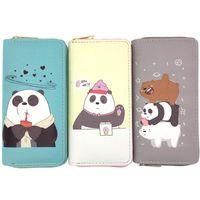 Wholesale cute clutches resale online - Cartoon Long Women Purses Student Cute Bear Print Zipper Wallets Coin Purse Clutch PU Wallet Credit Card Holder Money Clip Bag OWE2520