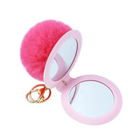 Wholesale cute keychains resale online - New Color Cute Puff Ball There Mirror KeyChains KeyChains Kids Women Rings Android KeyChains Car Bag Santa Claus Key Chain Gift