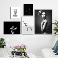 Wholesale Woman Flowers Deer Inspirational Quote Canvas Painting Poster Black White Art Print Nordic Decor Wall Picture for Living Room