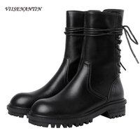 перевязать трубы   оптовых-Back Tie Black Handsome British Style Short Tube Motorcycle Boots Narrow Band Genuine Leather Chunky Sole Autumn Shoes for