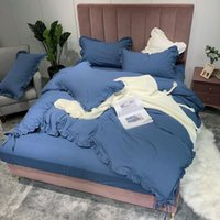 royal blue bedding 2021 - Pure Cotton 4pcs Bed Set Duvet Cover Bed Set Sheet Pillowcases Solid Royal Blue Ginger Bean Paste Pink Grey Khaki White