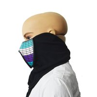 Wholesale skull control resale online - LED Luminous Flashing Face Mask Party Sound Control Halloween Clothing Terror Helmet Fire Festival Party Masks6613