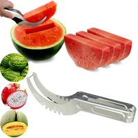 Wholesale watermelon cutters resale online - Stainless Steel Watermelon Slicer Cutter Melons Knife Cutter Corer Scoop Fruit Vegetable Tools Kitchen Gadgets DHB2655