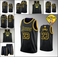 Wholesale jersey numbers for sale - Group buy Men Los Angeles Lakers Kobe Bryant LeBron James Anthony Davis NBA Finals Black Mamba Dual Number Jersey