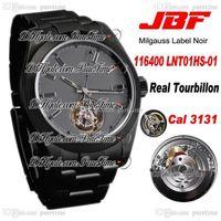 Wholesale custom silver buckles for sale - Group buy JBF Custom Watch By Label Noir A3131 Tourbillon Automatic Mens Watch Gray Dial Oyster DLC PVD Steel Bracelet Best Edition Puretime B2