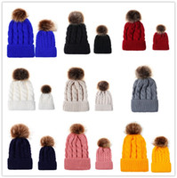 Wholesale sports hats kids resale online - with Big Fur Pom Ball Beanies Kids Adult Winter Hat Twist Knit Crochet Tuque Children Parent matching Outdoor Sport Ski Headwear E101905