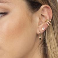 factory wholesale clip on earring Triple cz line hollow out ear cuff fashion women lady no piercing jewelry