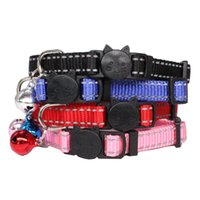 Wholesale reflective collars for dogs resale online - 12pcs Reflective Nylon Collar Blank Personalized ID Cat Small Dog Nylon Adjustable for Puppy Kittens Nelace