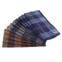 Wholesale mens handkerchiefs cotton resale online - 12pcs Cotton Mens Plaid Pocket Handkerchief Pocket Square Hankies x40cm
