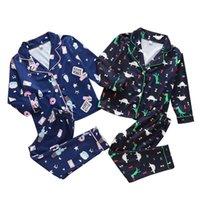 Wholesale kids cartoon single for sale - Group buy Kids Boys Pajamas Dinosaur Cartoon Printed Pijamas Baby Boys Homewear Turn down Collar Button Tops Elastic Trousers Suit