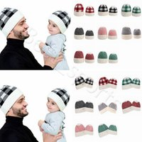 Wholesale Parent child Beanie Colors Winter Warm Adult Kids Knitted Caps Outdoor Sports Beanies Plaid Wool Hats Festive Party Hats CYZ2860