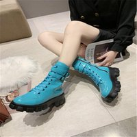 Wholesale punk black sneaker resale online - Shoes Woman Motorcycle Boots Punk Boots Women Patent Leather Platform Chunky Sneakers Autumn Wedge Heels Mid Calf black