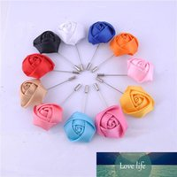 Wholesale flower boutonnieres resale online - Wedding Boutonniere Floral Stain Silk Rose Flower Color Available Groom Groomsman Man Pin Brooch Corsage Suit Decoration