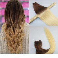 Wholesale piece weave bleach dye for sale - Group buy Human Hair Weave Ombre Dye Color Brazilian Virgin Hair Weft Bundle Extensions Two Tone Brown To Bleached Blonde