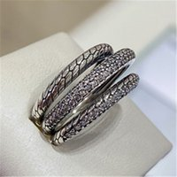 Wholesale triple wedding ring set resale online - Fashion Jewelry Sterling Silver Pandora Triple Band Pave CZ Snake Chain Pattern Ring For Women Lovers Wedding Commemorative Ring
