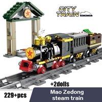 Wholesale magnetic blocks resale online - Kazi Steam era Freight Train Building Block High speed Rail Train Magnetic Track Classic Children s Locomotive Toys For Children sqclKs