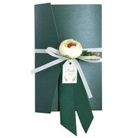 Wholesale free paper birthday cards for sale - Group buy 50 Green Wedding Invitations Card Pearl Paper with handmade silk flower Baby Shower Birthday invitation cards