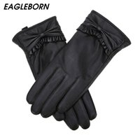 Wholesale bow leather gloves for sale - Group buy New Genuine Leather Women Gloves Sheepskin Winter Women Fashion Bow Touch screen Drive High quality Distinguished Warm Gloves