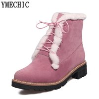 Wholesale pink fringe boots resale online - YMECHIC Sweet Lady Cute Fringe Lace Up Ankle Motorcycle Boots Women Med Heel Winter Shoes Plus Size Short Boot Female Black Pink