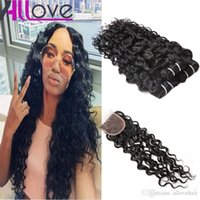 Wholesale malaysian curly hair mixed resale online - Allove Brazilian Human Hair Bundles With Closure Water Wave Peruvian Hair Deep Loose Wave Curly Body Straight cheap good human hair weave