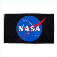 Discount nasa flag Custom Digital Print 3x5ft Free Drop shipping Veteran NASA Insignia Logo Universe Fans Flag Banner for Decoration