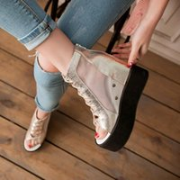 Wholesale sandal creepers resale online - Summer Ankle Boots Creepers Lady Mesh Cross Tied Peep Toe Womens Party Shoes Gold Silver Platform Wedges Heel Sandals