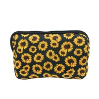 Wholesale phones storage for sale - Group buy Women Cosmetic Bags Neoprene Makeup Bag Sunflower Leopard Print Clutch Bag Travel Makeup Organizer Coin Case Phone Storage Bags OWF1251