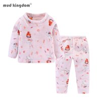 Wholesale thermal suits for winter resale online - Mudkingdom Winter Kids Clothing Sets Velvet Sleepwear Kids Pajamas for Boys Girls Baby Thicken Thermal Suit